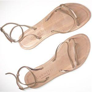 Cornetti Nude Leather & Gold Metallic Strap Sandal
